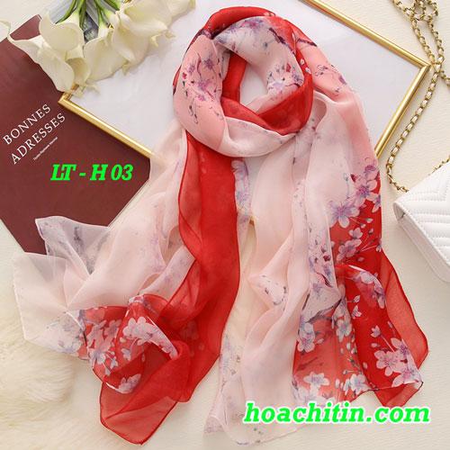 Khăn Choàng Lụa Tằm Hoa H03