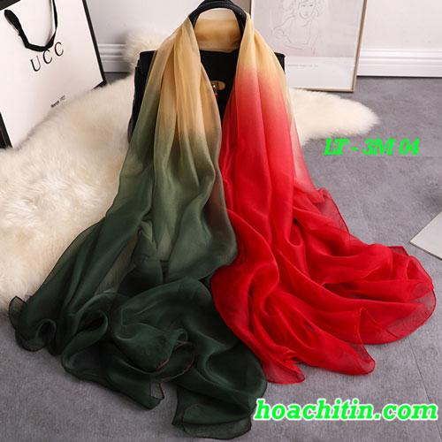 Khăn Choàng Lụa Tằm 3 Màu Tông Đỏ 3M 04