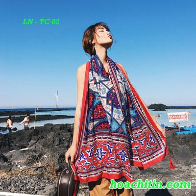 Khăn Đi Biển Khăn Choàng Linen Mẫu Thổ Cẩm 02