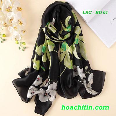 Khăn Choàng Lụa Hàng Châu Hoa Dây Đen HD 04