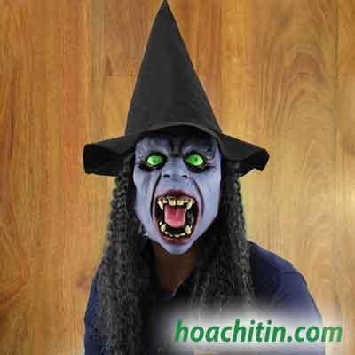 Mặt nạ da phù thủy tóc giả đội nón