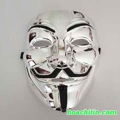 Mặt Nạ Hacker Bạc Bóng