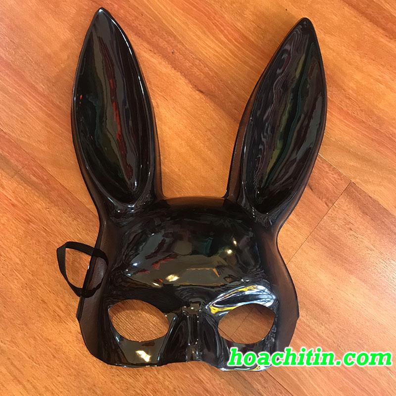 Mặt Nạ Thỏ Bunny Tai Dài Đen Bóng