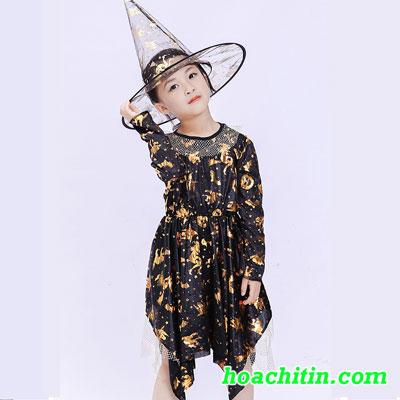 Váy Phù Thủy Nhũ Vàng Kèm Nón  ( Bé 6 - 8 Tuổi)