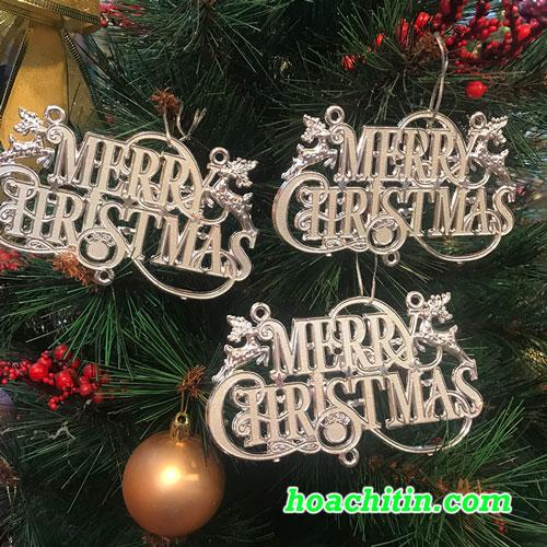 Chữ Merry Christmas Bạc Treo Cây Thông - Set 3 Cái