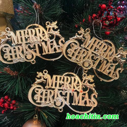 Chữ Merry Christmas Vàng Treo Cây Thông - Set 3 Cái