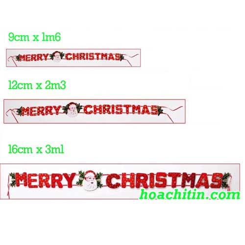 Dây Nhung Merry Christmas Size 12cm x 2m3
