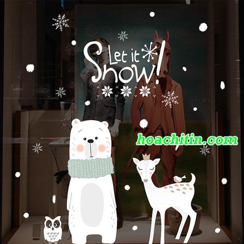 Decal Noel Mẫu Gấu và Hươu 60 x 90cm