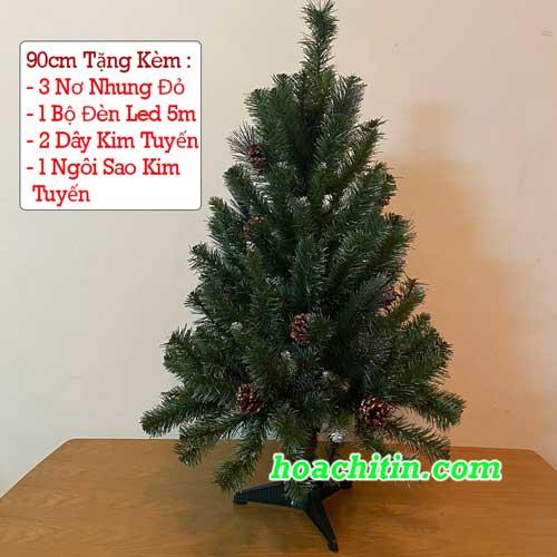 Cây Thông Xanh Lá Dầy Gắn Trái Thông 90cm