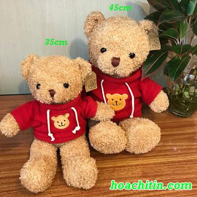 Thú Nhồi Bông Teddy Lông Chỉ  Áo Đỏ Size 35cm
