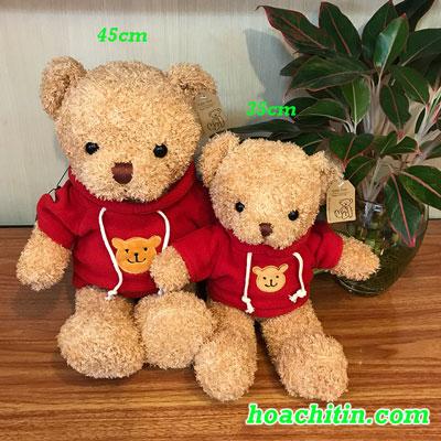 Thú Nhồi Bông Teddy Lông Chỉ Áo Đỏ Size 45cm