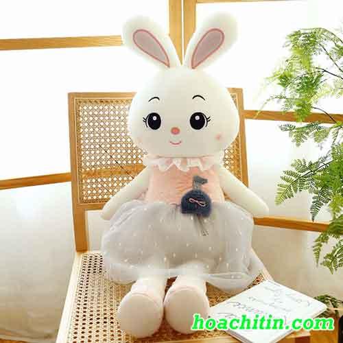 Thú Nhồi Bông Thỏ Đầm Ren Size 40cm