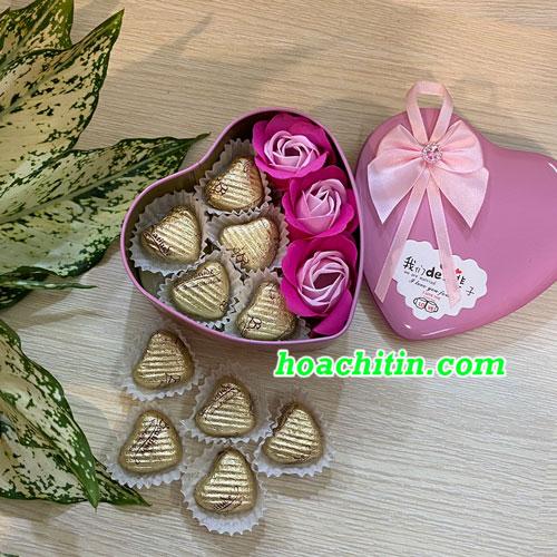Socola Valentine Trái Tim Hoa Hồng Hộp Trái Tim