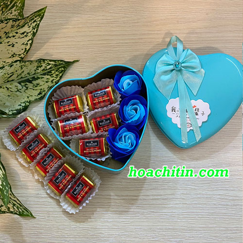 Socola Valentine Thanh Vuông Hoa Hồng Xanh Hộp Trái Tim
